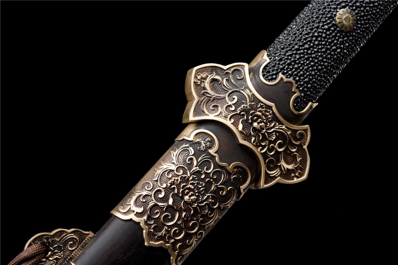 百炼花纹钢铜装牡丹豪华唐刀|唐刀|百炼花纹钢,唐刀,中国唐刀刀,龙泉唐刀,唐刀图片