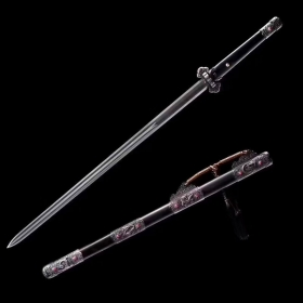 长款唐剑 龙泉宝剑 花纹钢
