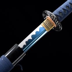 云鹤铁镡烤蓝研白刃武士刀|高碳钢60锰|武士刀|★★★