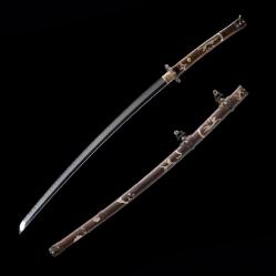 铜鞘鎏银太刀|武士刀|百炼花纹钢|★★★★