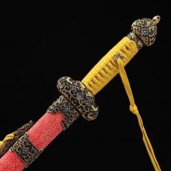 精品鱼皮贯霄剑|龙泉宝剑|自炼花纹钢|★★★★